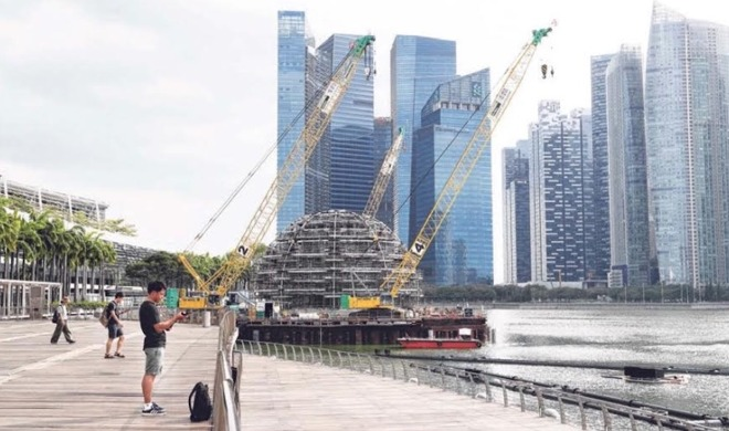 A dome at Marina Bay Sands, allegedly for Apple, is already under construction.