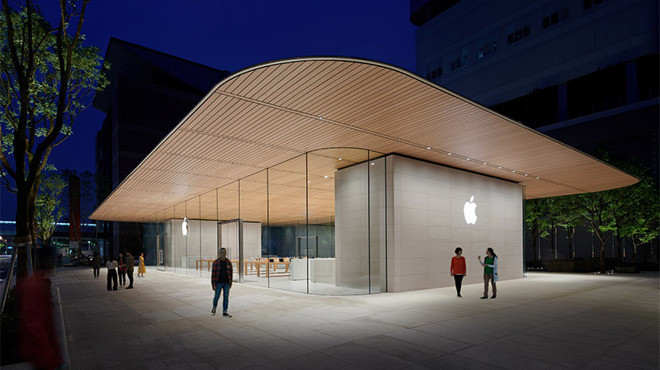 c9000c933d9 Apple offered a sneak peek at its Xinyi A13 location in Taipei ahead of a  10 a.m. grand opening on June 15. A glass-and-stone pavilion design is  reminiscent ...