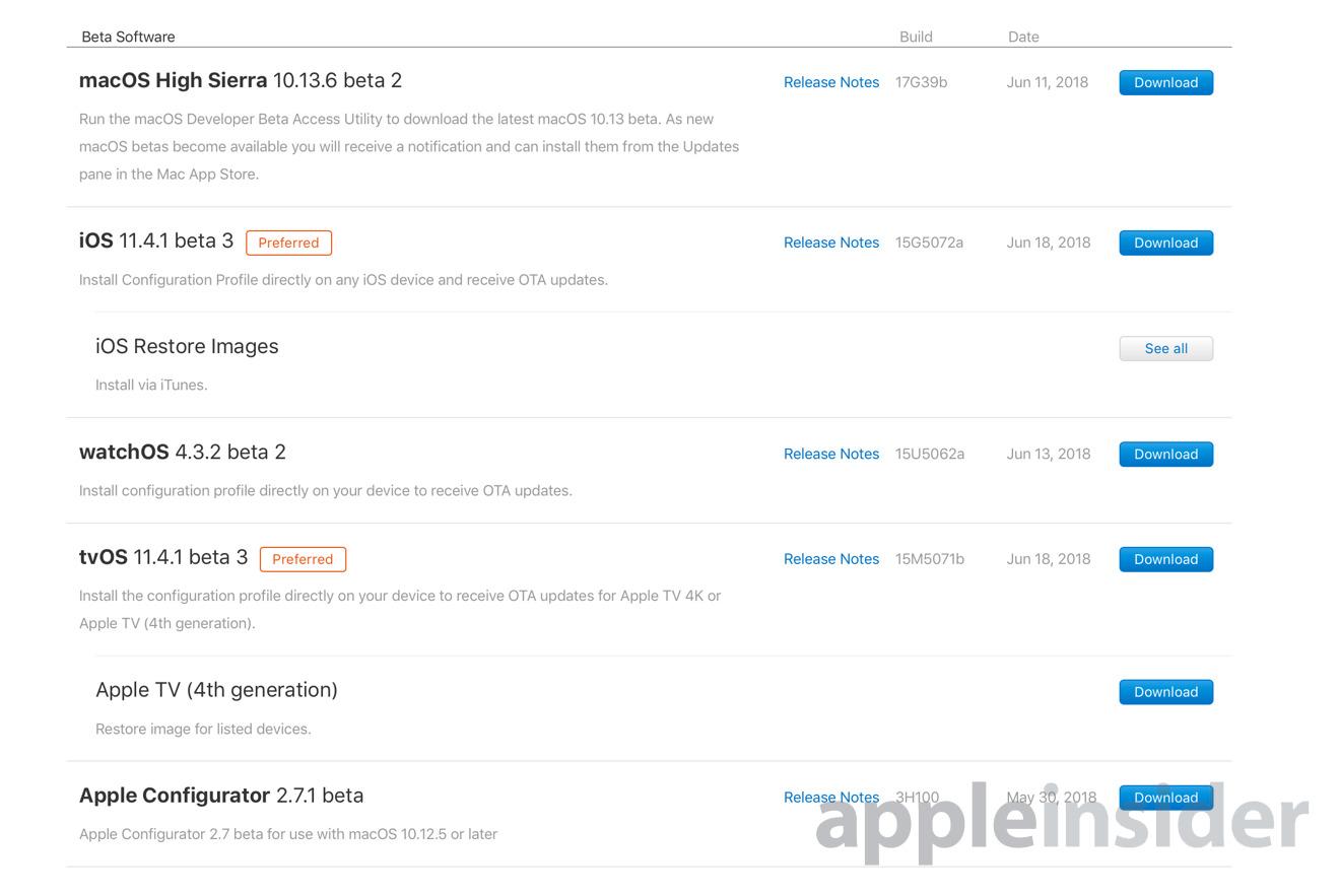 tvOS iOS 11.4.1 beta page