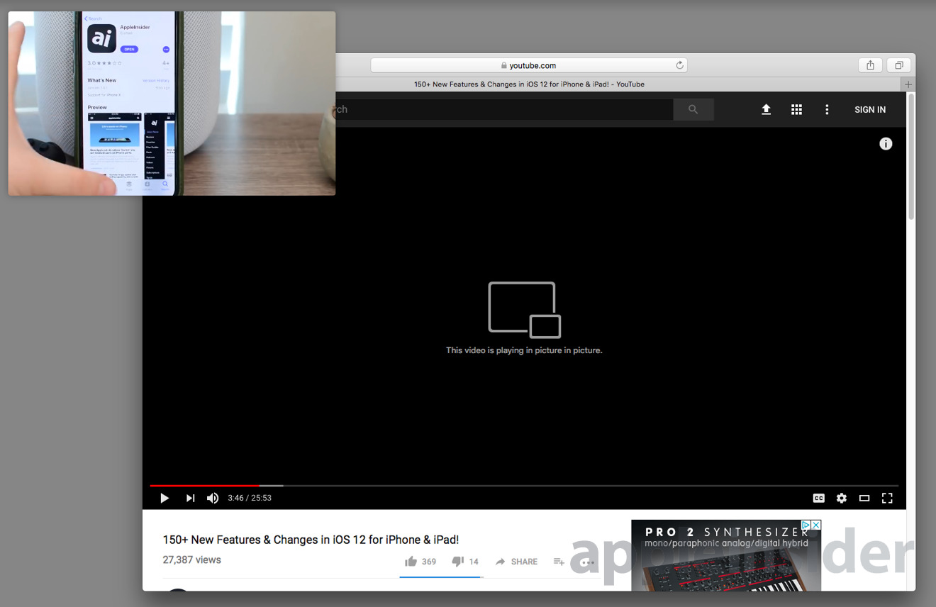YouTube Safari Picture in Picture macOS