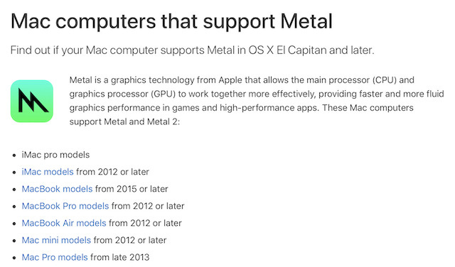 Mojave requires Metal