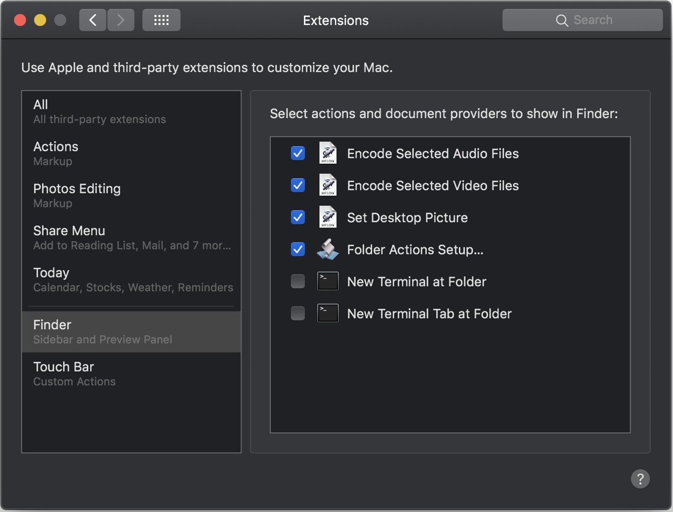 Mojave Finder Extensions