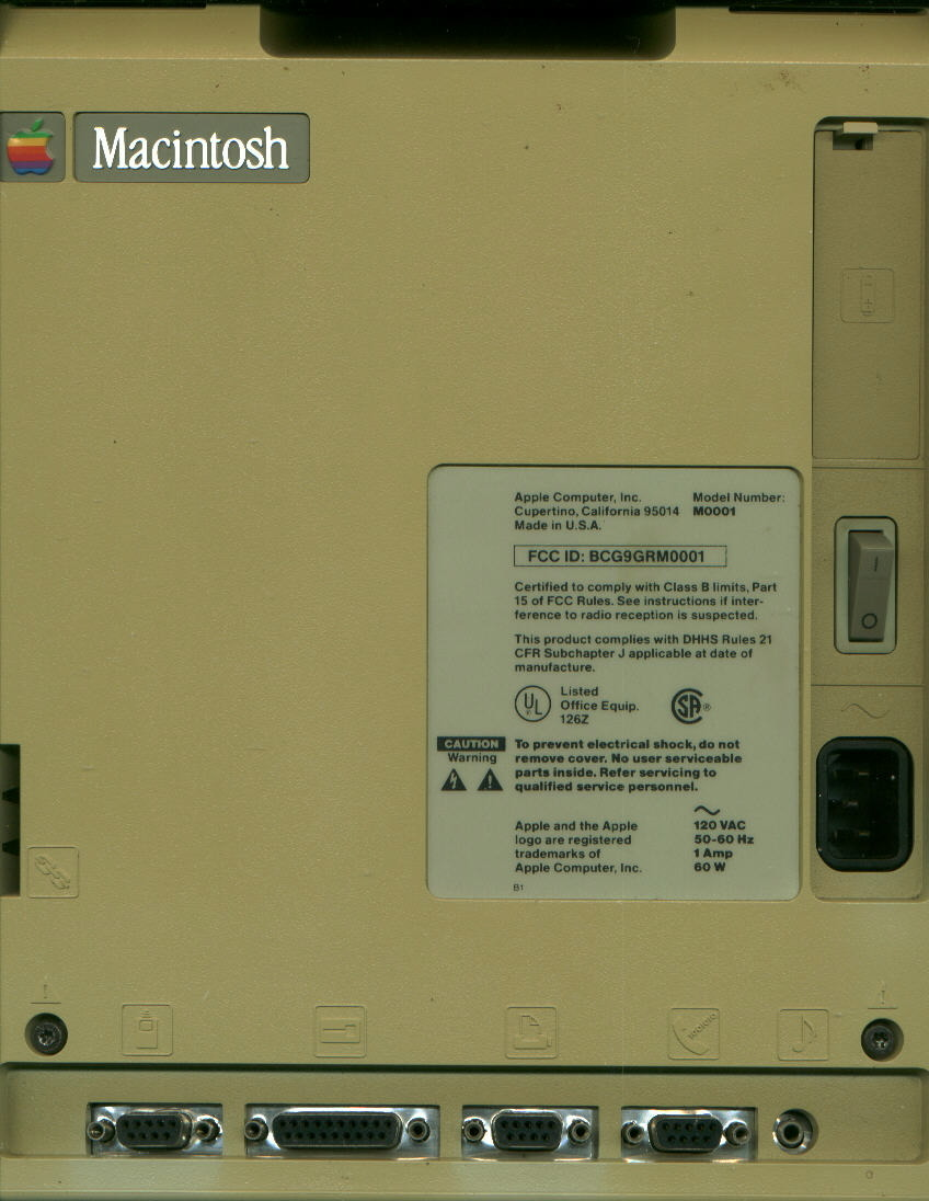 Back of Mac 128K