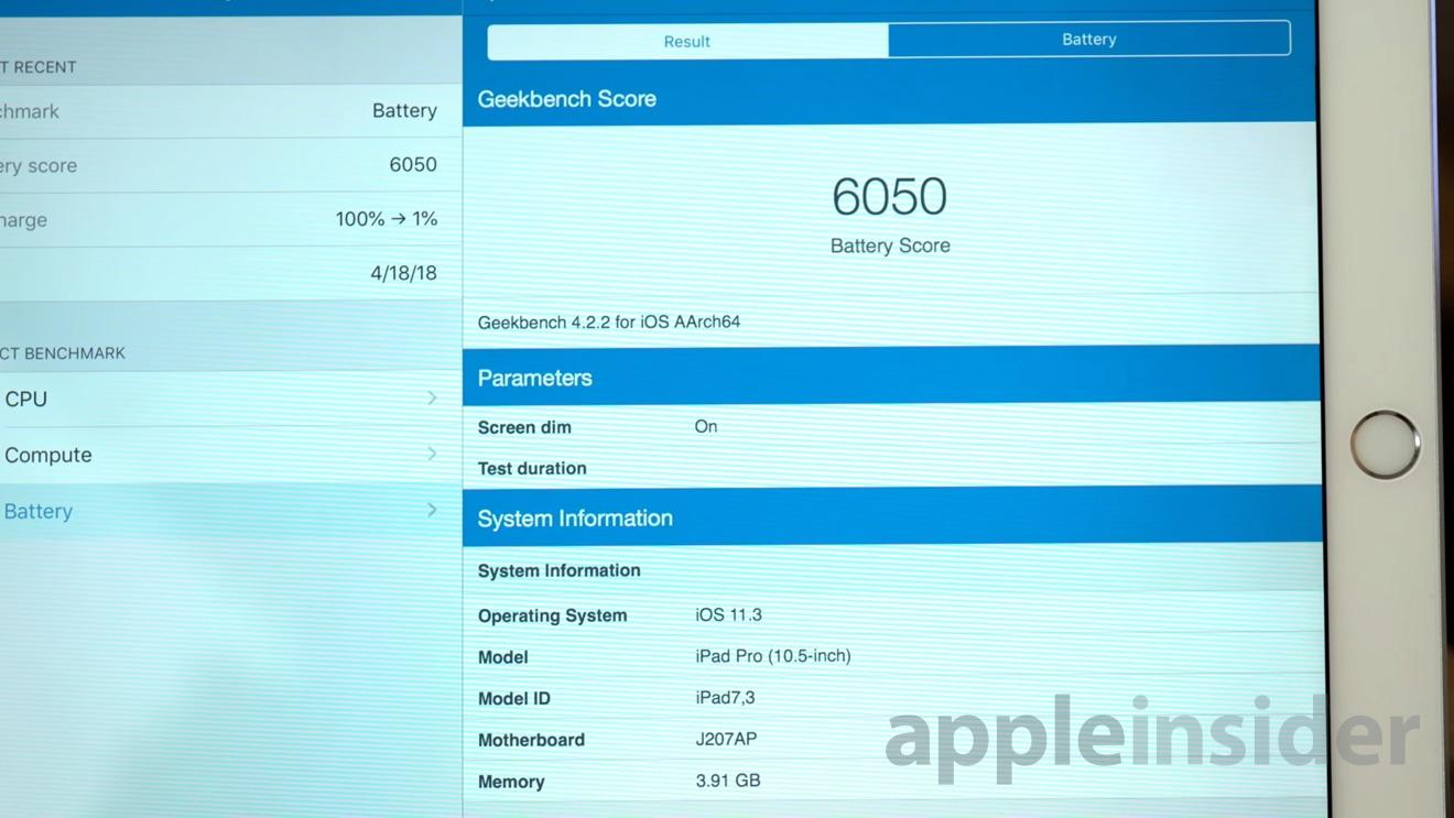 Apple iPad Pro battery benchmark score