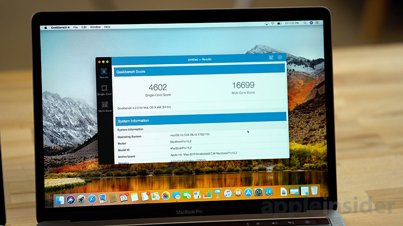 2018 MacBook Pro Geekbench