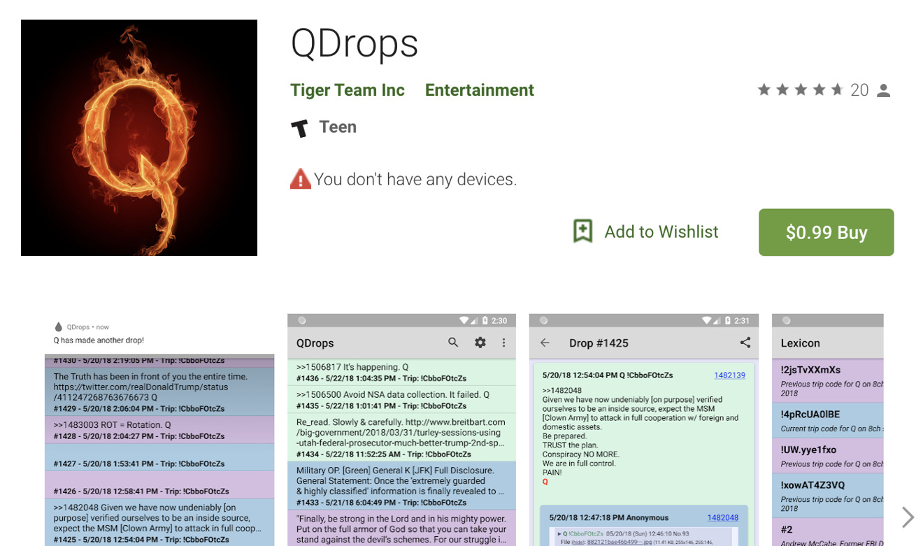The Google Play version of the QDrops app