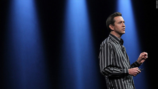 Scott Forstall on stage at an Apple event
