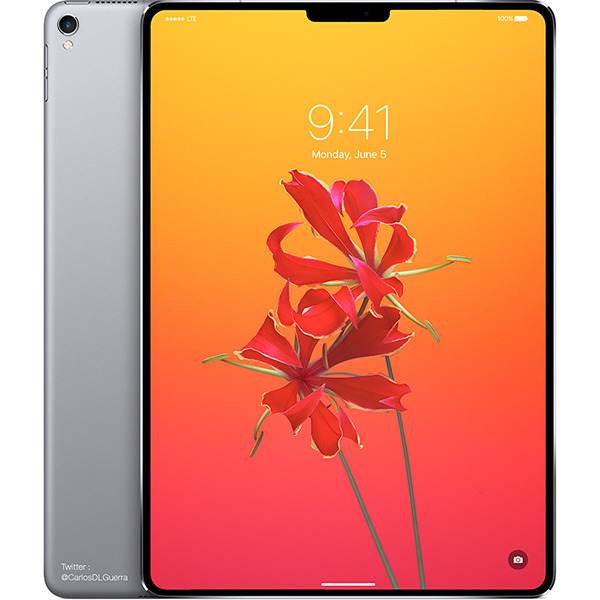 A mockup of a 2018 iPad Pro design.