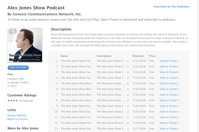 Apple drops Alex Jones podcasts from iTunes, Apple Podcasts