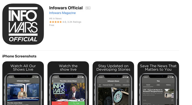Apple explains decision to keep 'Infowars' app on App Store