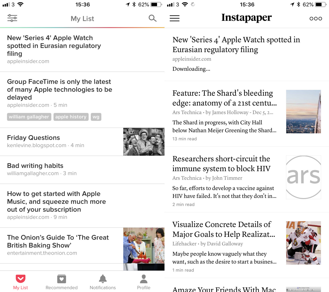 Left: Pocket on iPhone. Right: Instapaper