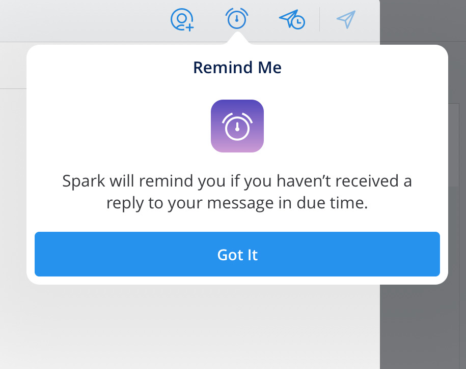 Pop up message in Spark Mail explaining that you can be reminded when recipients haven't replied in a specified time