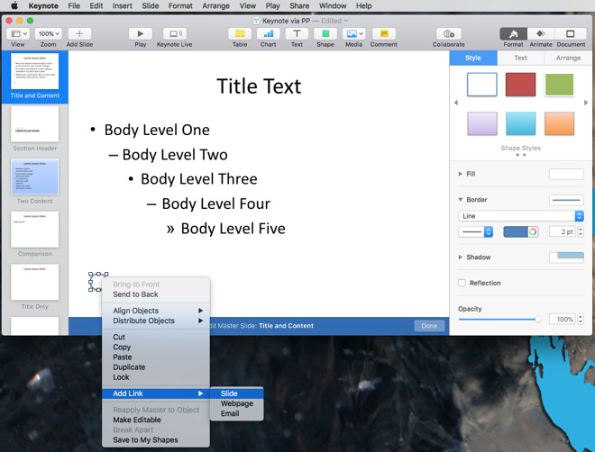 how to create your own master slide in keynote