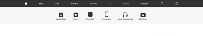 iPod menu header