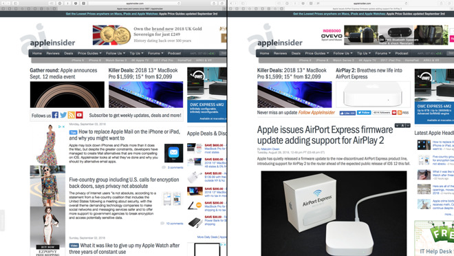 Having two AppleInsider web pages open in Split View on the Mac.