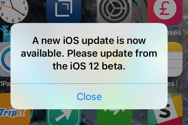 How to stop the constant update prompt in the iOS 12 beta