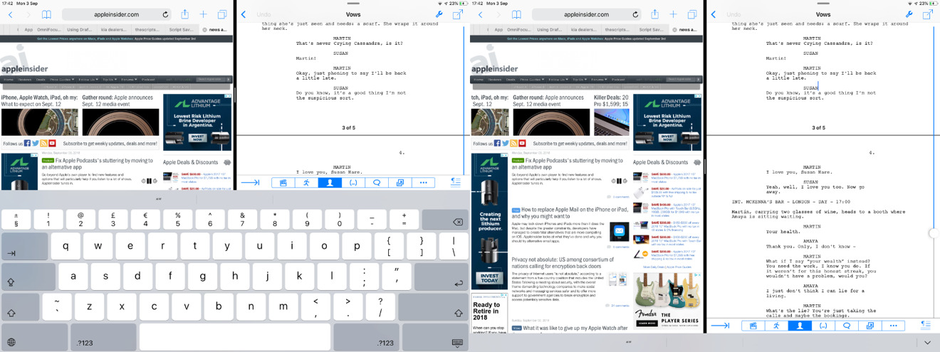 An external keyboard means you see much more of your work at once
