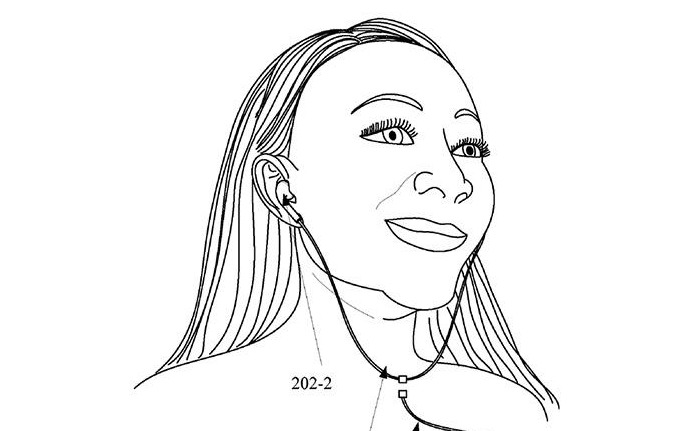 Sketch from Apple patent showing a woman wearing wired headphones that can be disconnected work wirelessly