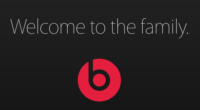 Apple website notice saying Welcome to the Family on the company's acquisition of Beats