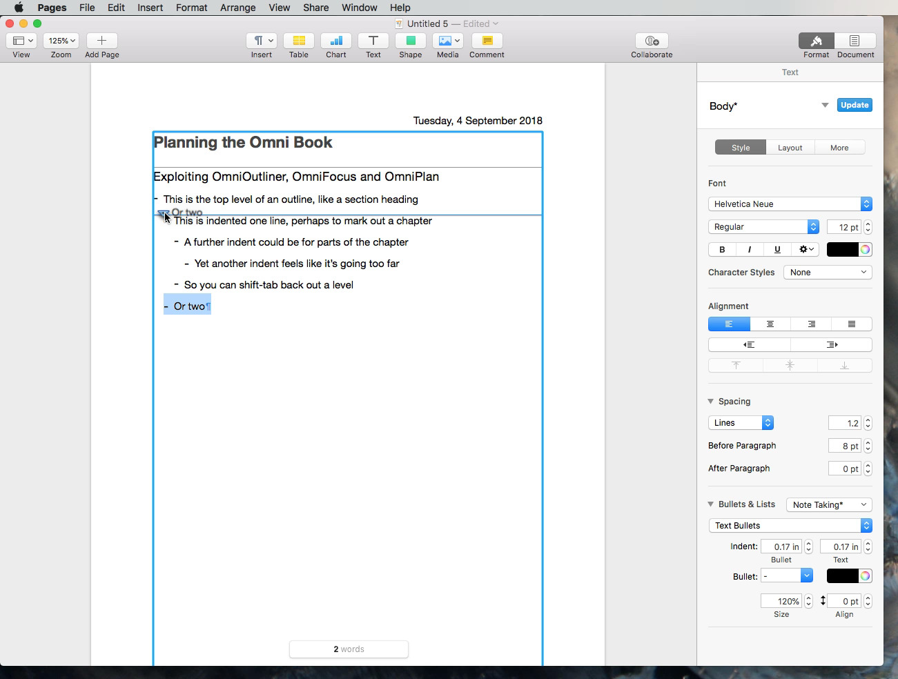 You can rearrange lines in an outline in Pages