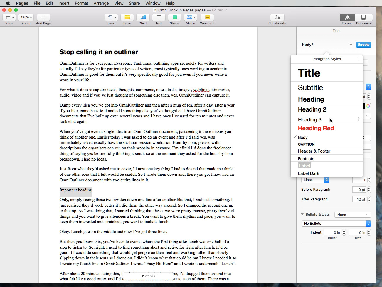 Pages comes with predefined styles —  font faces, size and so on —  for different parts of your document such as headings and body text.