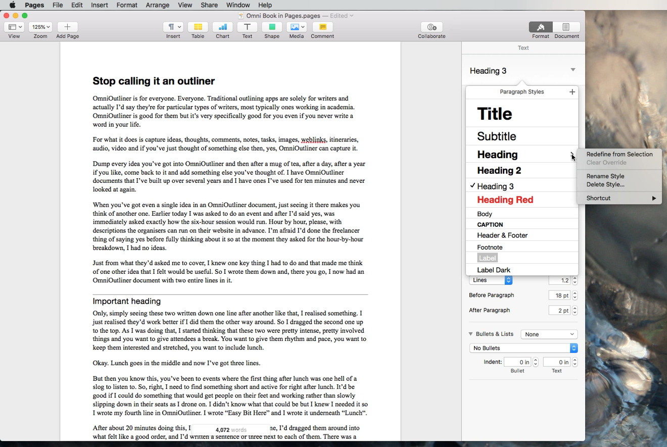 Change the font or style of some text and Pages can apply that to all similar text across the document