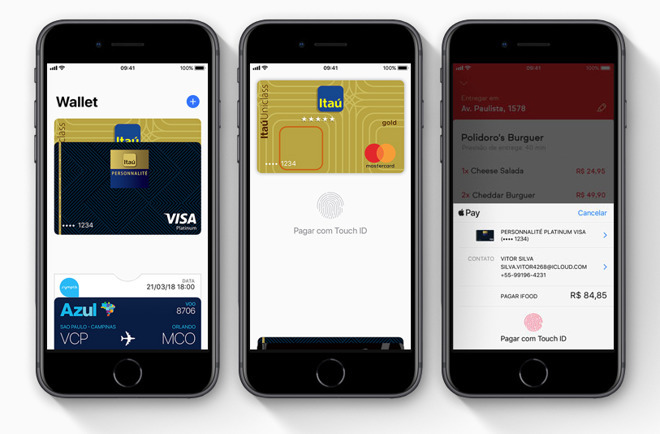 Three images showing the process of paying by Apple Pay on an iPhone