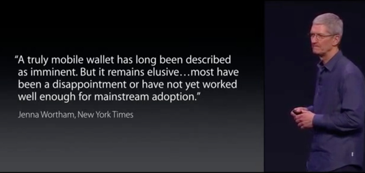 Tim Cook at the launch of Apple Pay