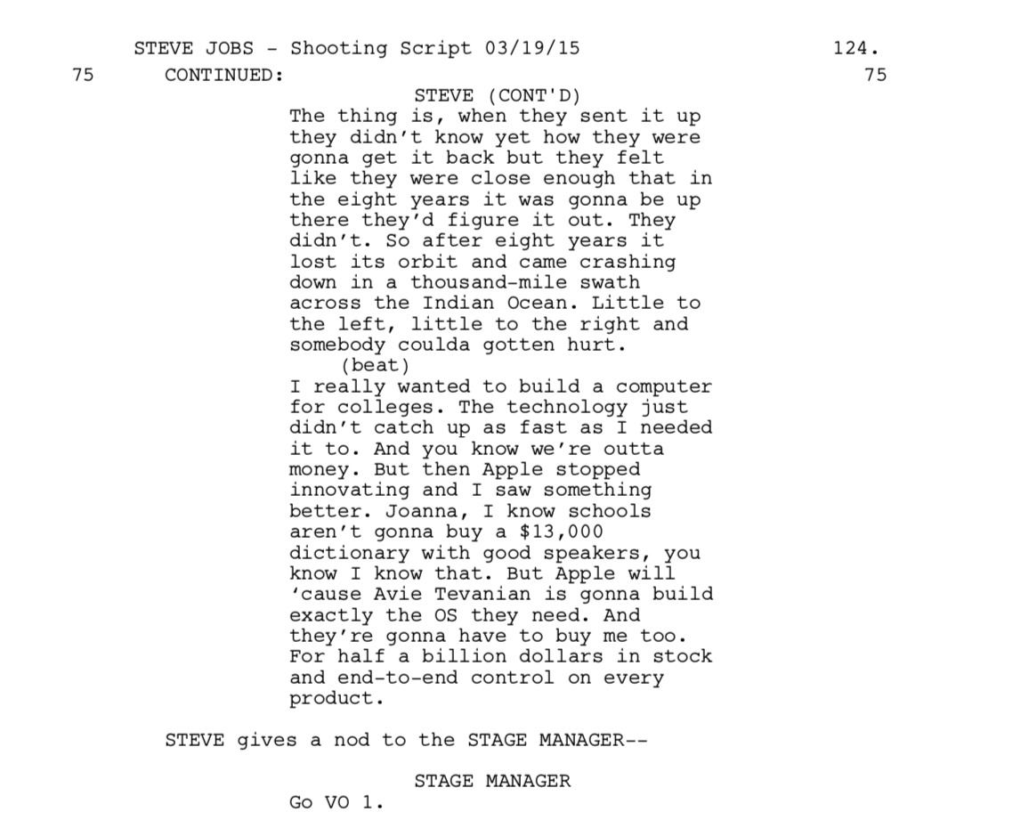 Extract from Aaron Sorkin's Steve Jobs script