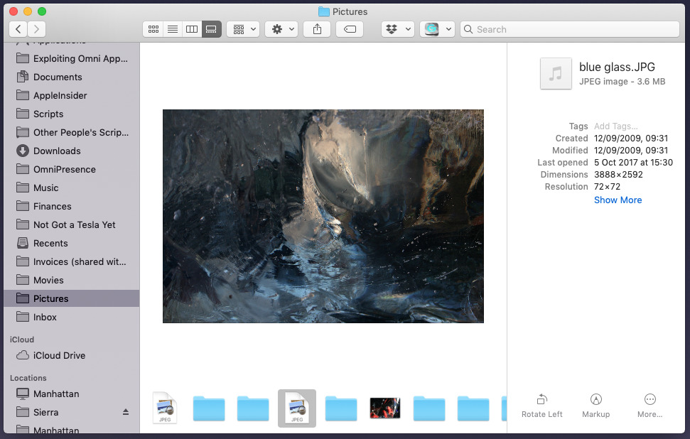 Gallery view in Finder