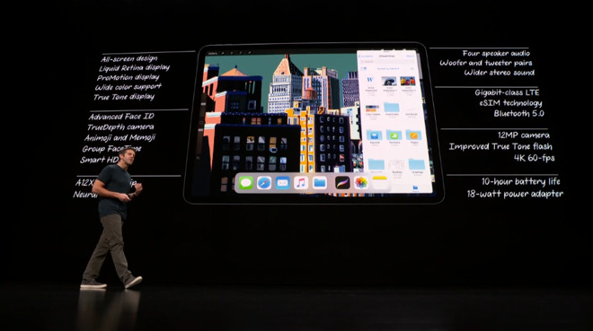 Apple's on-stage list of specifications for the new iPad Pro models