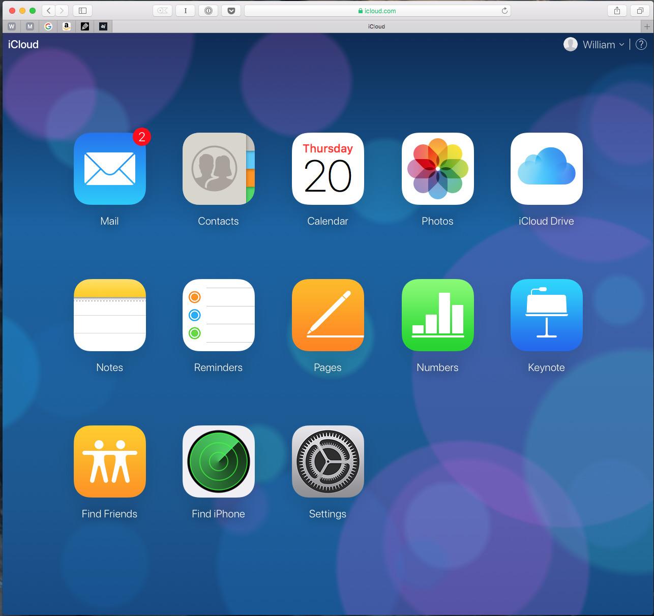 Main page of iCloud.com