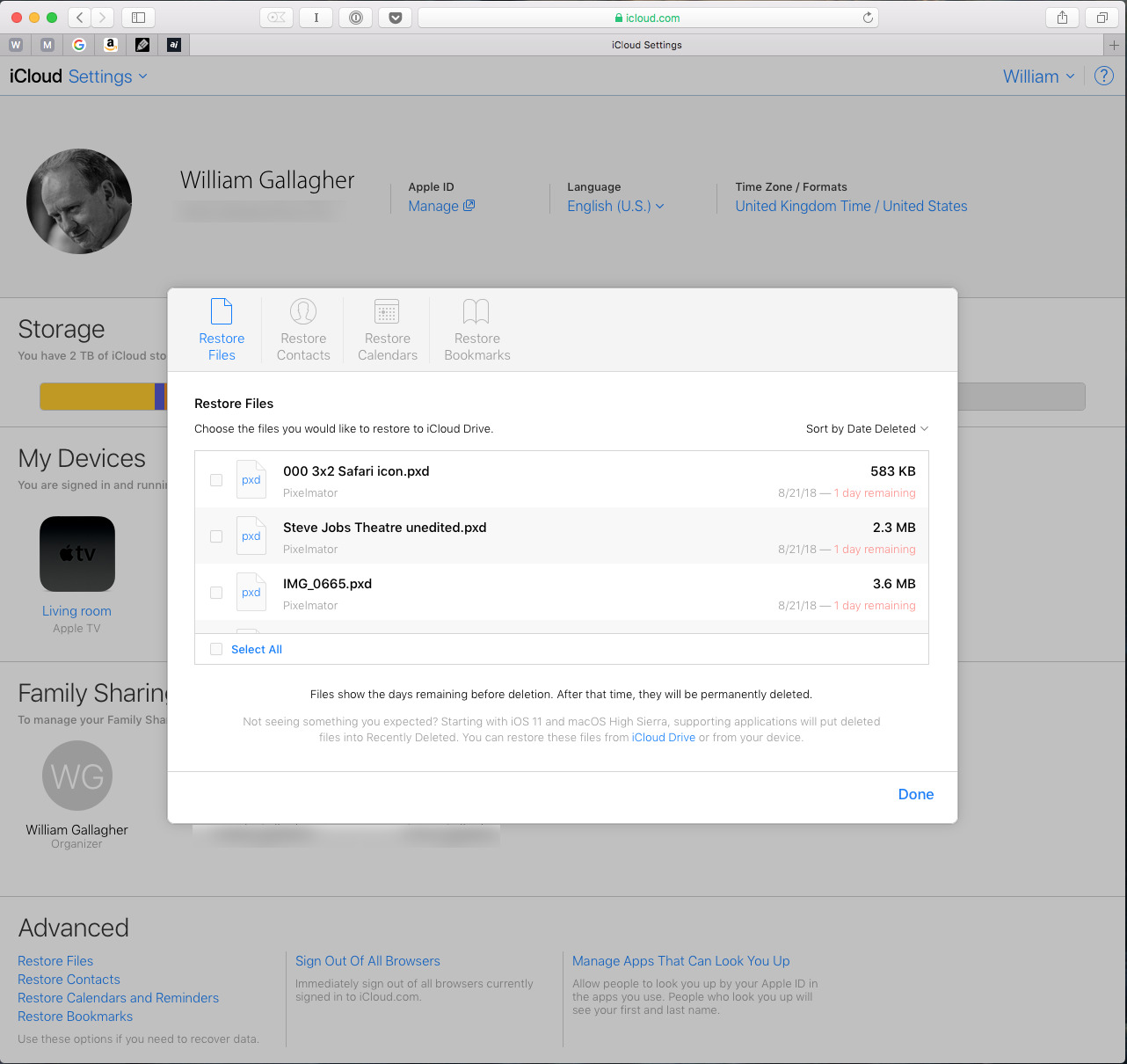 Sorting and searching the list of deleted but recoverable iCloud files