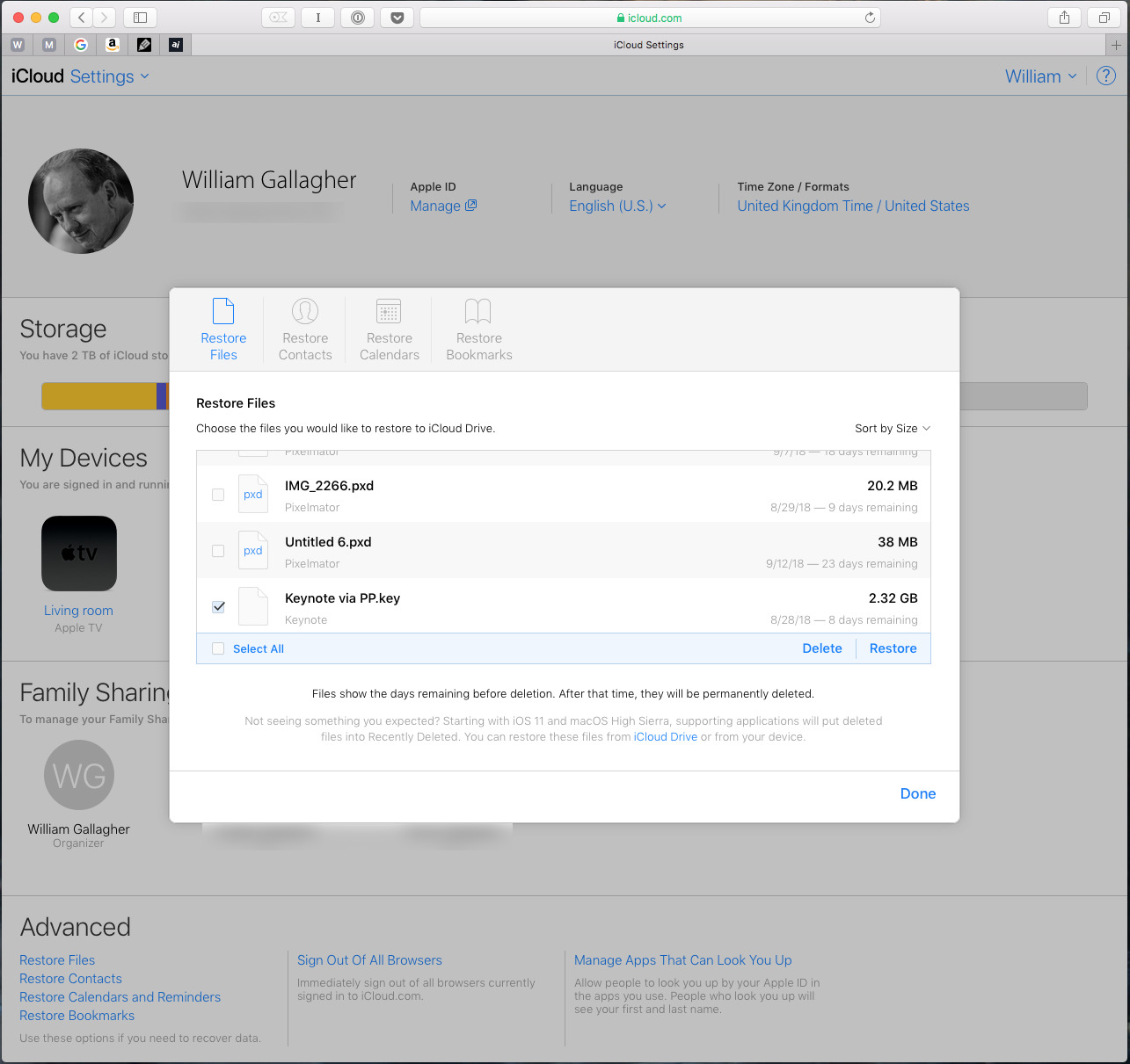 Restoring a file from iCloud