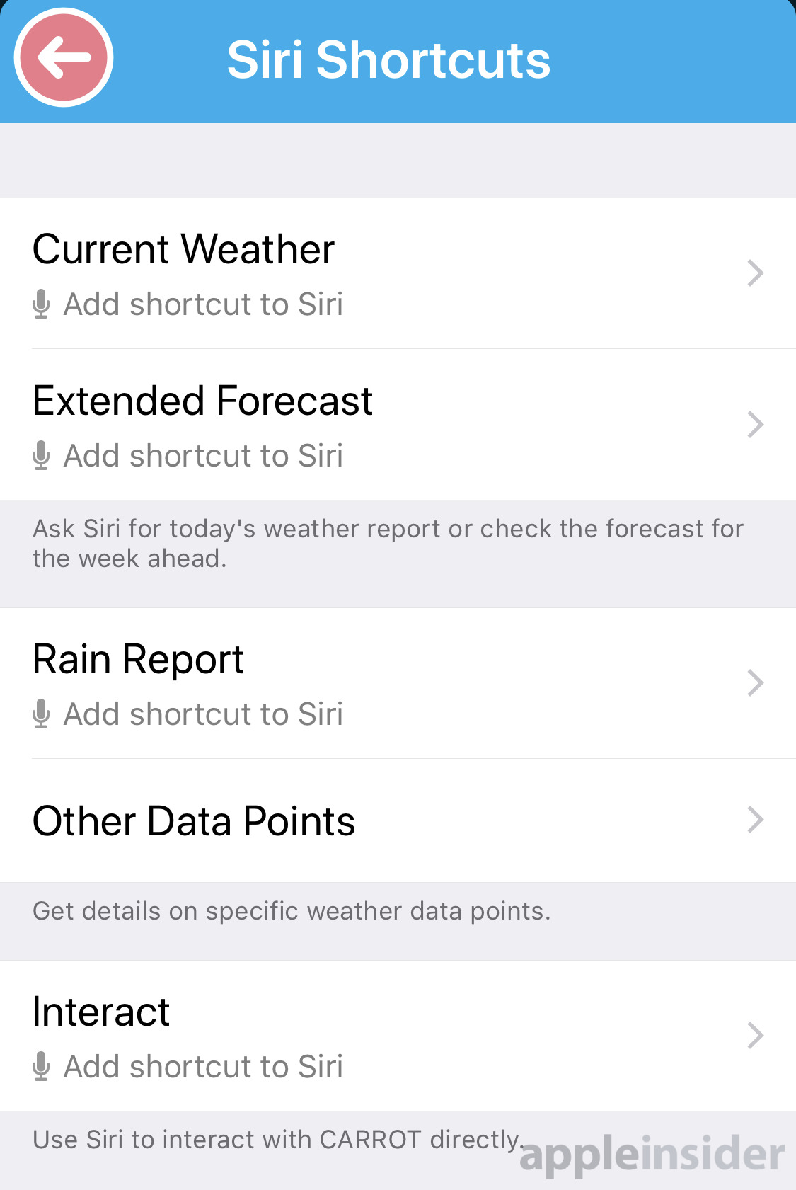carrot weather shortcuts