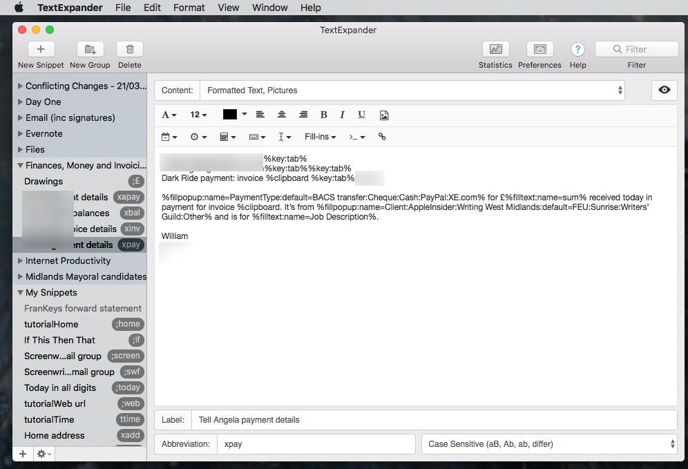 Editing TextExpander