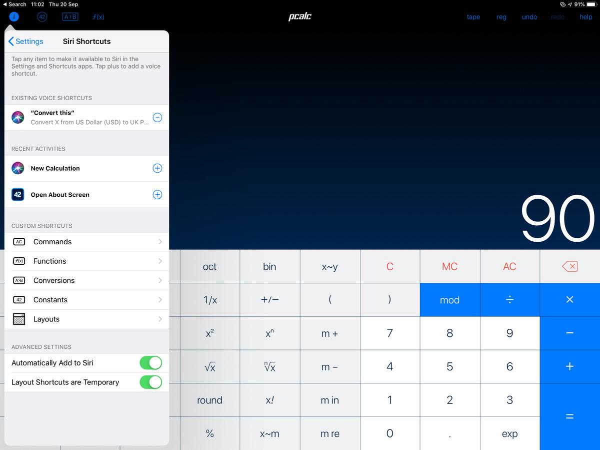 PCalc on iPad