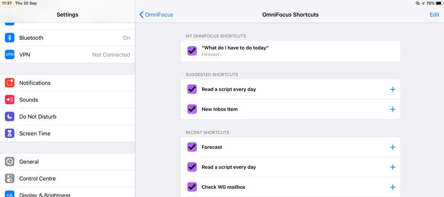 OmniFocus's Siri Shortcuts