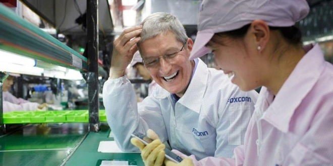 Apple CEO Tim Cook at a Chinese Foxconn factory.