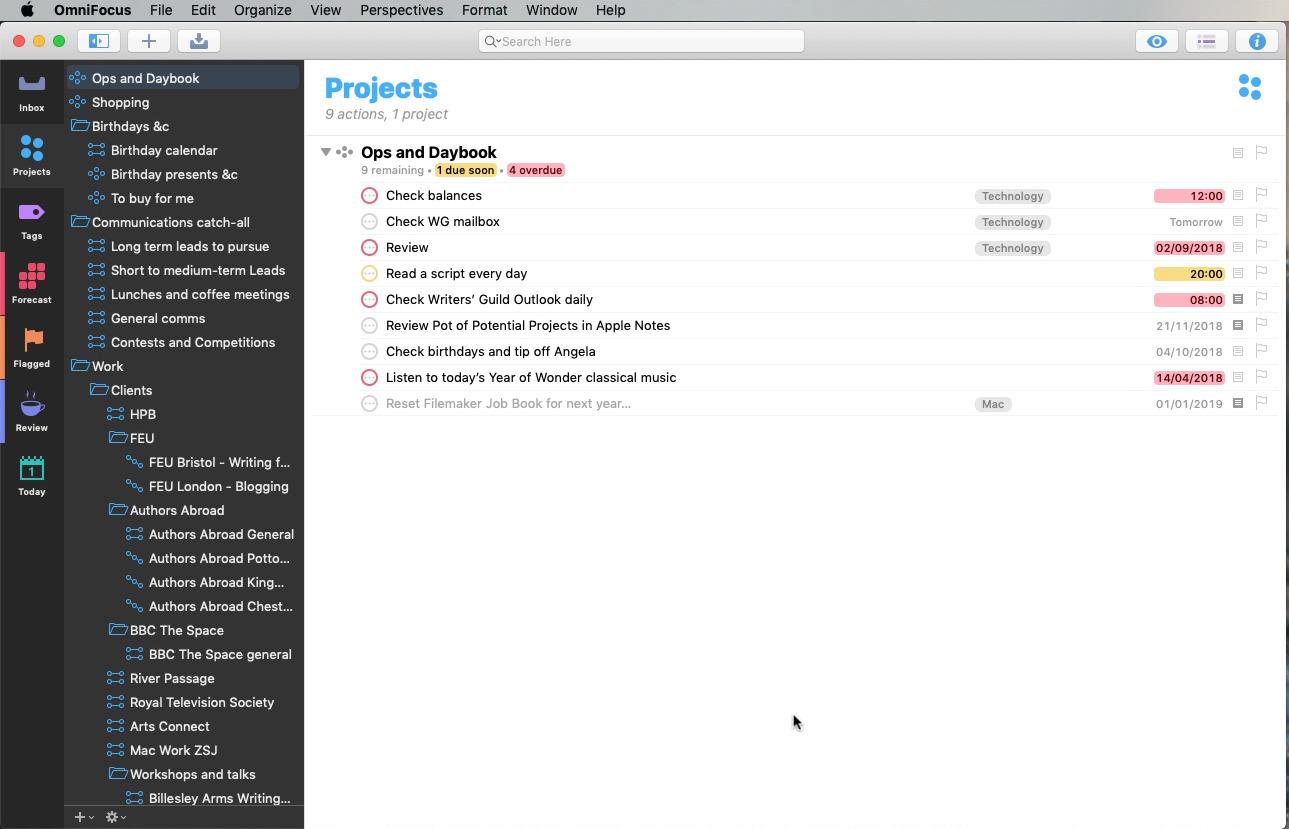OmniFocus 3 for Mac main view