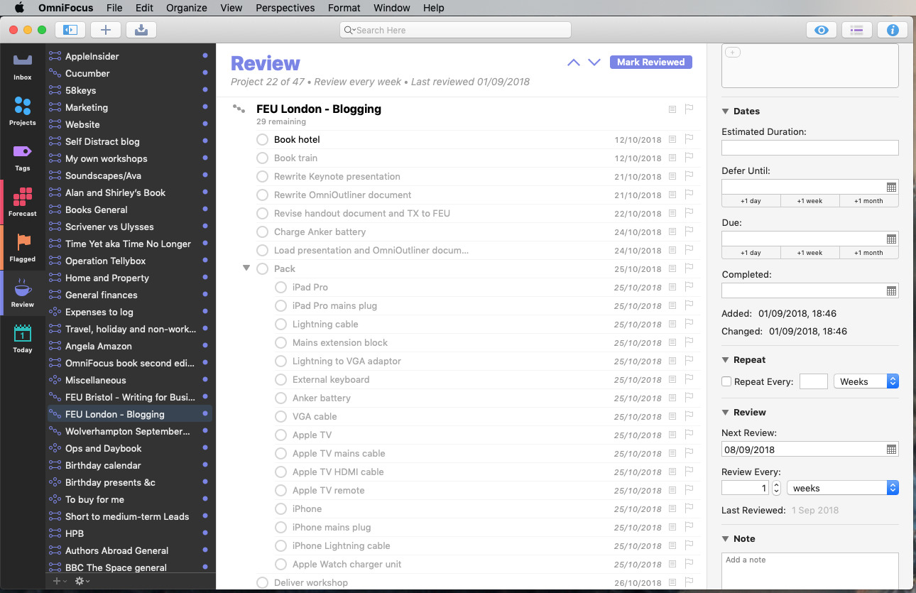 The Review feature in OmniFocus 3 for Mac