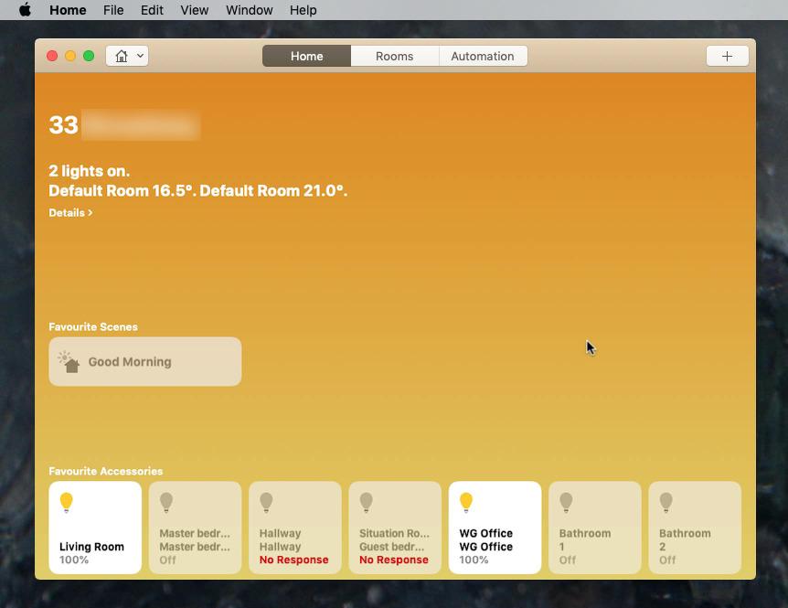 Main view of Mac Home app