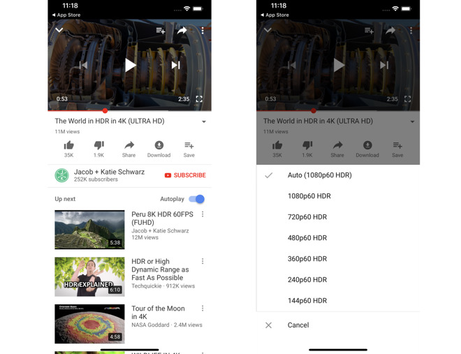 YouTube for iOS gains HDR support for iPhone XS and XS Max