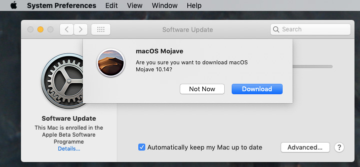 Software Update asks if you're sure you want to continue