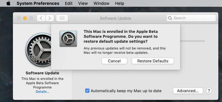 Choose Restore Defaults to leave the beta program