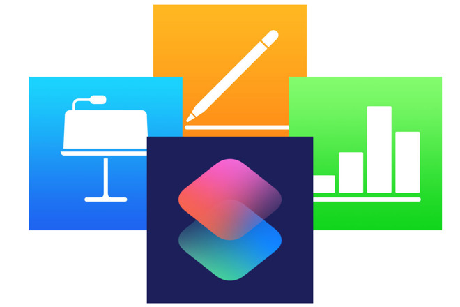 Icons for Pages, Numbers, Keynote and Siri Shortcuts