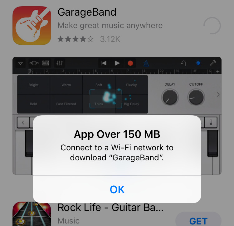 You can't download apps larger than 150MB unless you're on Wi-Fi