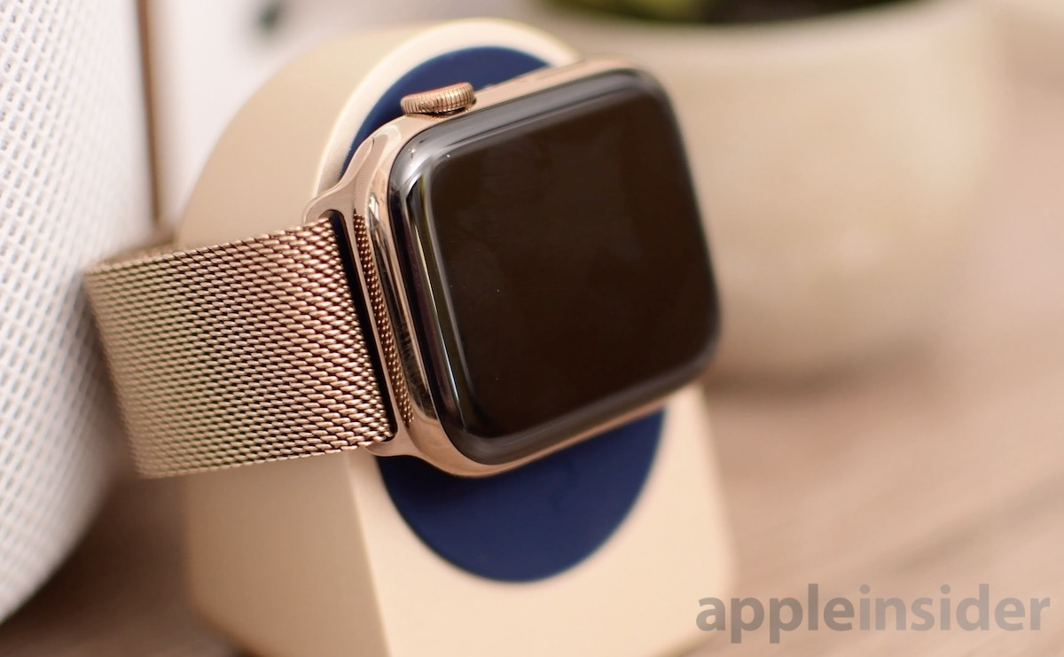 Stainless steel gold Apple Watch with gold Milanese loop band