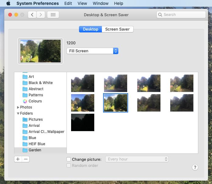 Changing desktop image in System Preferences