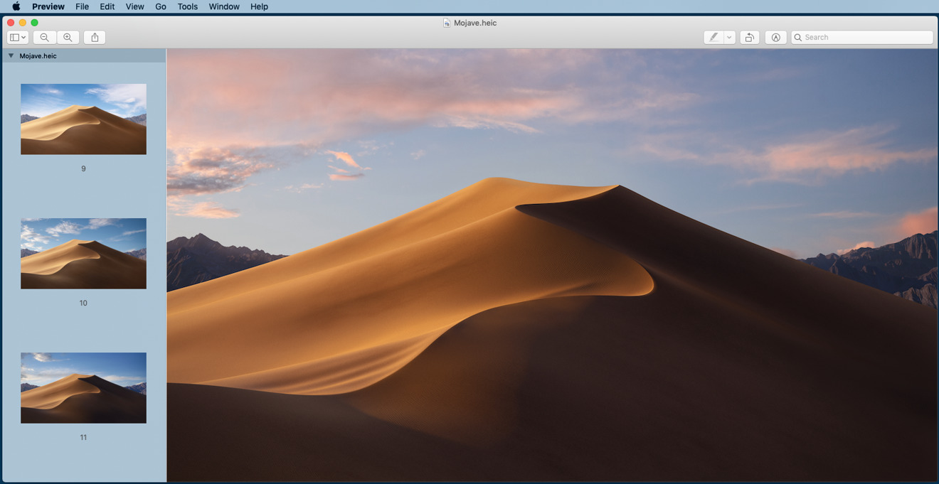 Mojave shots in Preview